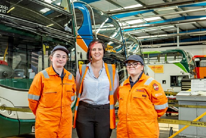 Stagecoach Apprentices (L-R) Sara Shelley from Stagecoach South, Jemma Wood (now Deputy Engineering Manager at Stagecoach in Cambridge) and Jessica Coombes from Stagecoach Manchester.