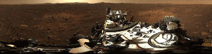 This is the 1st 360 degree panorama taken by Mastcam-Z, a zoomable pair of cameras aboard NASA's Perseverance Mars rover.