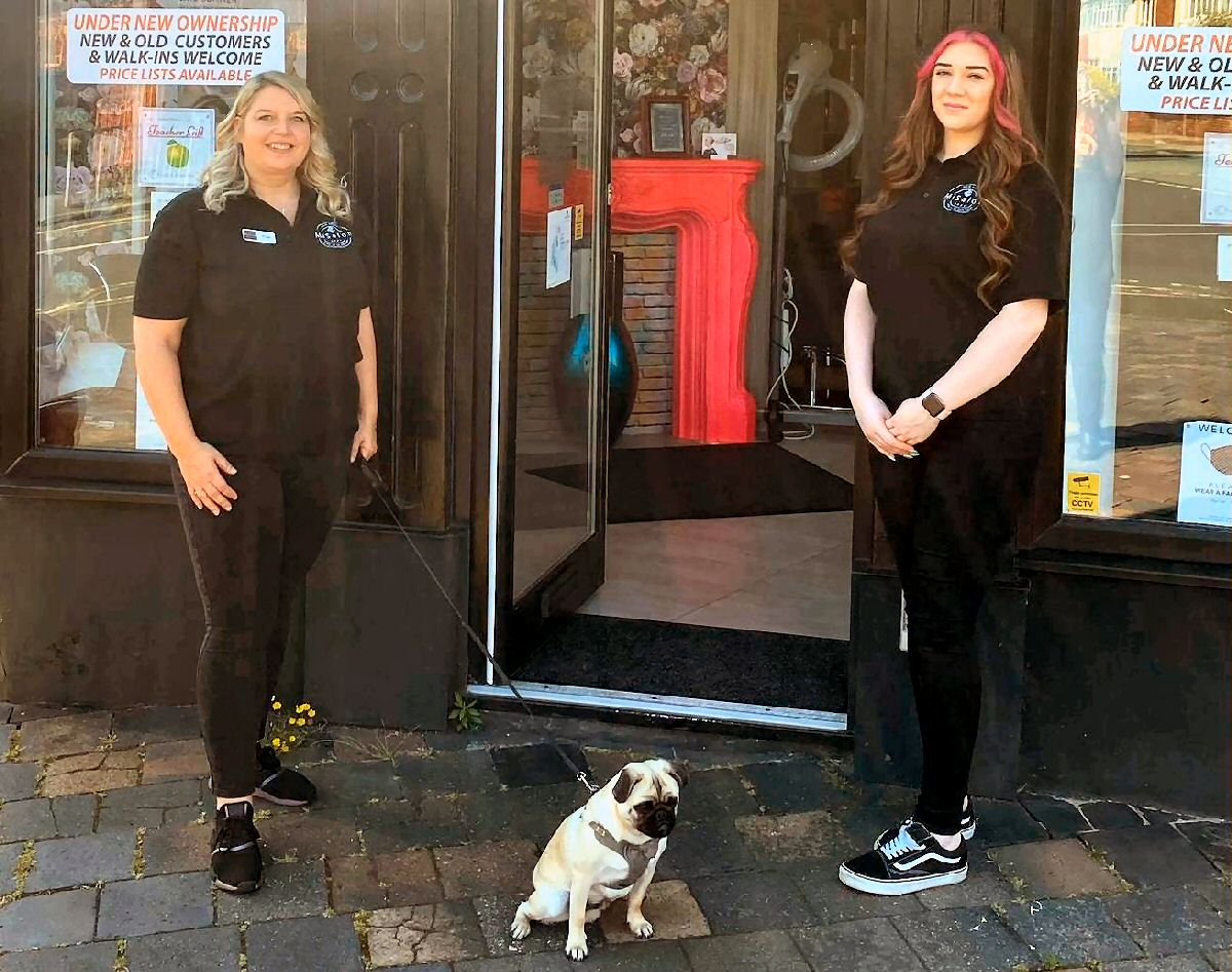 Owner Angie Ingham (left), stylist Alex Graves (right) and Sparky the dog at MiSalon in Birkdale in Southport