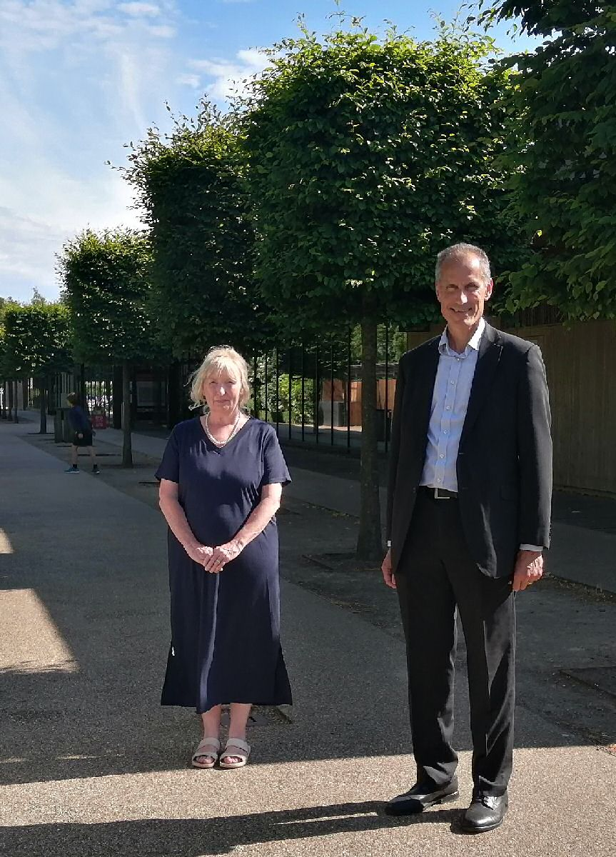Bill Esterson MP with Imagine Formby member and Formby parish Councillor Carol Richards, who is involved in the 8 Alleyways project