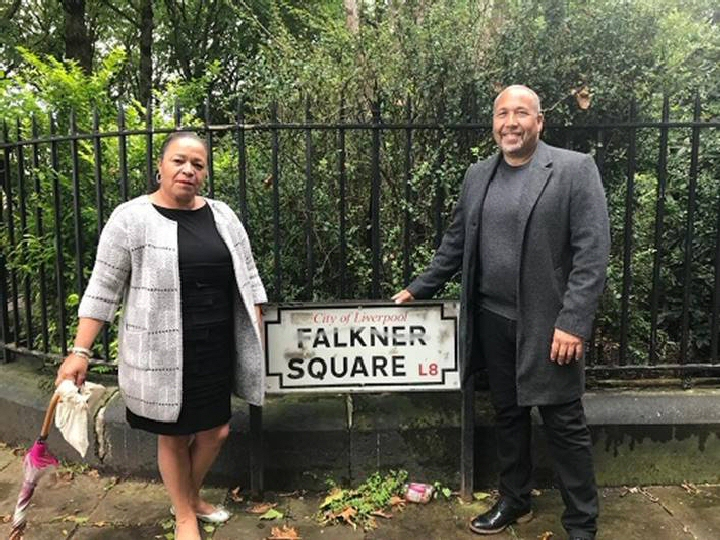 Michelle Charters and Eric Lynch's son Andrew in Falkner Square, 1 of the places being considered.