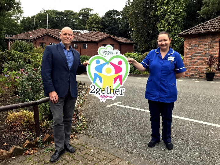 (L-R) St. Joseph's Hospice chief executive, Mike Parr, and Hospice nurse, Vicky Sanderson, help to launch the 2gether Appeal.