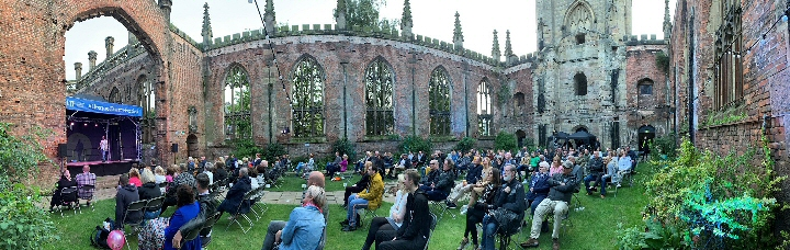Wide panaramic shot of church showing the seating in daylight - credit David Munn
