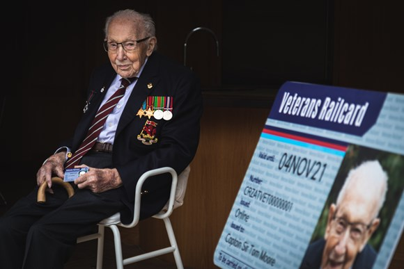 Captain Sir Tom Moore presented with the very 1st new Veterans' Railcard, as new design unveiled...