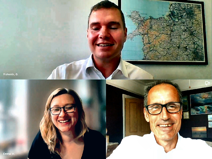 Bill Esterson MP on the Zoom call with Aldi�s Emma Wilson and Bryn Richards.