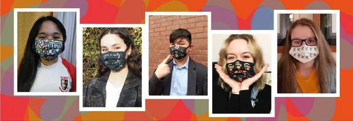 On this photo... The competitions winners, from left: Aubrey Sanchez, Belita Edi, Euan Lee, Evie Warwick, and Nikoleta Pioro with masks on that show their designs.
