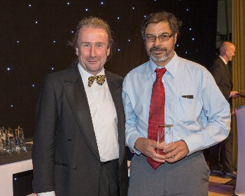Doctor of the Year, Athmanatha Nauaswami, with Executive Medical Director Rob Gillies who made the award