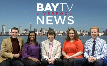 The news team at Bay TV Liverpool, in the studios at Windsor St, Liverpool. L-R: Nathan Griffiths, Charlene Smith, Peter Berry, Emily Bonner and Theo Browne.