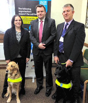 Nick Thomas Symonds MP, Labour, with the Guide Dogs volunteers