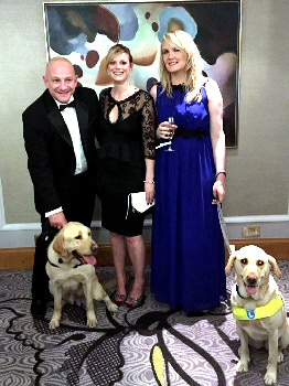 Dog handler Constable Steve Adams with Champ and finalists Kerry Singleton (middle), Lynette Proctor (right) and her dog Pippa.