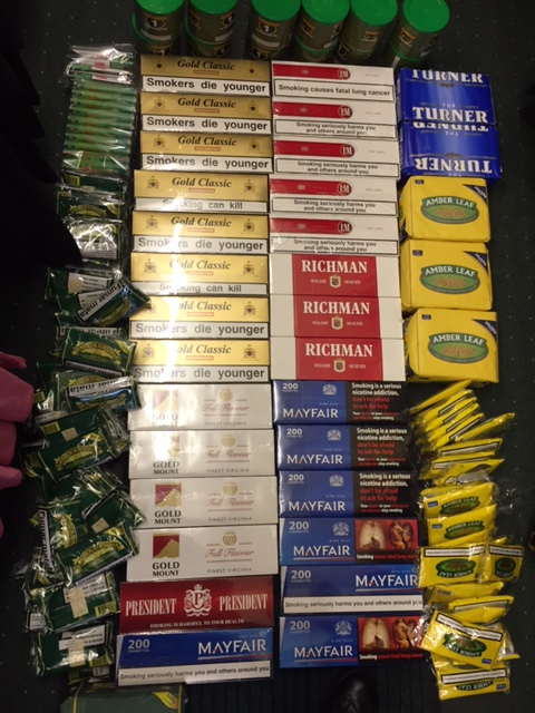 St Helens and Newton-le-Willows recovery of counterfeit cigarettes.