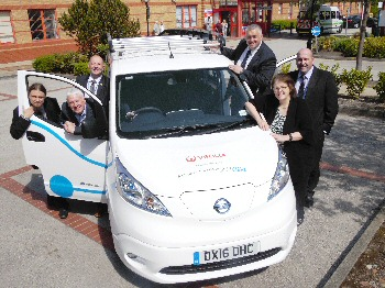 MP Rosie Cooper joins representatives from the Trust and Veolia with the new eco-van.