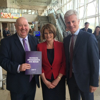 Picture shows Mayor Anderson, Louise Ellman MP, chair of the Transport Select Committee and Lord Deighton at John Lennon Airport.