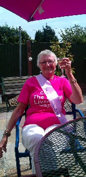 Photo caption: Barbara celebrating following Steve�s first fundraising ride from Liverpool to Leeds