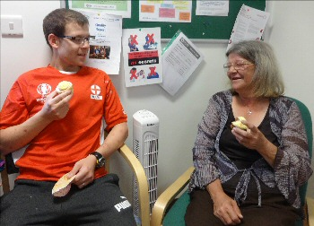 Darren James-Hughes welcomes his mum Sandra to Greenways Unit for Carers Week.