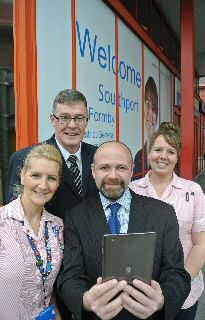 Photo caption: John Keogh and Mark Harrison from Innove Solutions launching the new app with nurses.