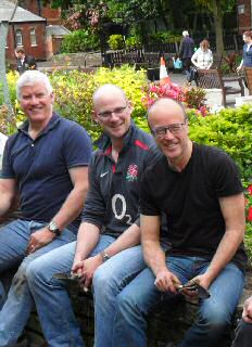 Photo caption: Steve Wood (left), Rob Evans and James Watson, part of the Paymentshield group at Southport Botanic Gardens.