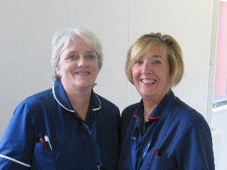 Stoma nurses Vanessa Stevenson and Samantha Miller.