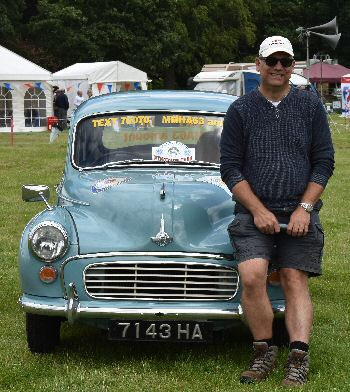 Bruce Kelsey with the Morris Minor which will visit the Isle of Man on 4 September 2016, with Steam Packet.
