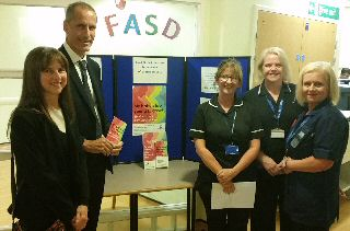 Picture shows (left to right) Diane Kashrabi (FASD), Bill Esterson MP, Lynne Eastham (Head of Children and Midwifery Services), Janet Calland (Matron, Obstetrics and Gynaecology) and Angi Cullen (Maternity CDOP/Bereavement Lead Midwife)