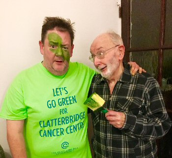 Johnny Vegas and his dad Lol Pennington go green for Clatterbridge.