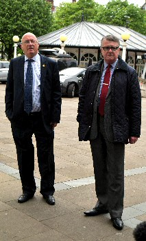 The photo is of Coroner Christopher Sumner with an assistant as they left Southport Town Hall, on Wednesday, 17 May 2017.