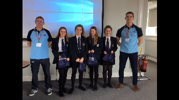 Charlotte Tims, Becky Spurry, Anna Taylor and Izzy Silverdale ? winners of best team during their STEM workshop at Thornton Science Park ? pictured with Flight Sergeant Mick Brooks (left) and Flying Officer Cameron-Johnson (right).