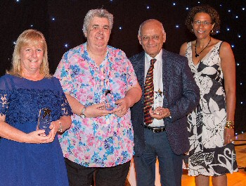 Spinal team winners (from left) Sandra McCarthy, Julie Jones and Bakul Soni with Chief Operating Officer Therese Patten;