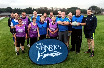 The walking rugby players at one of Sharks� Trafford sessions.