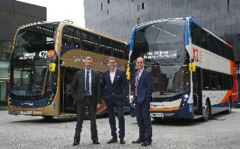 Left to right - Stagecoach MCSL's Rob Jones, with the Liverpool City Region Metro  Mayor, Steve Rotherham and Liverpool City Council, Cllr Liam Robinson...