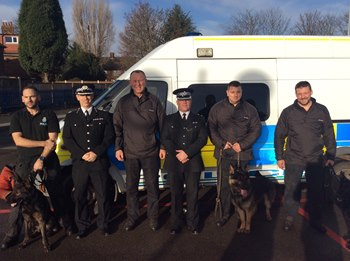 The Officers - Constables Pete Rhodes and PD Maggie, Pete Maher and PD Max, Tony Eyres and PD Ben and Simon Coley and PD Alfie - volunteered to attend, most from home, and carried out searches for secondary explosive devices at the MEN and other locations under stressful conditions.