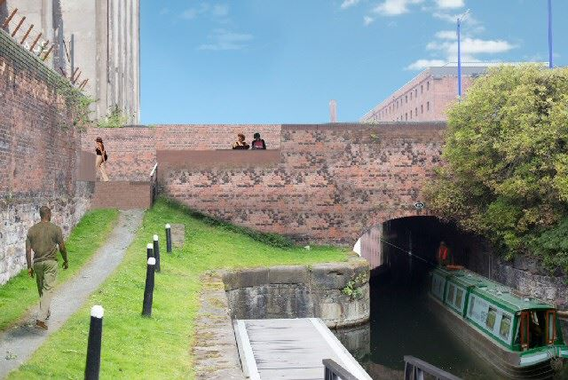 Illustration Stanley Flight canal view to Great Howard Street A565