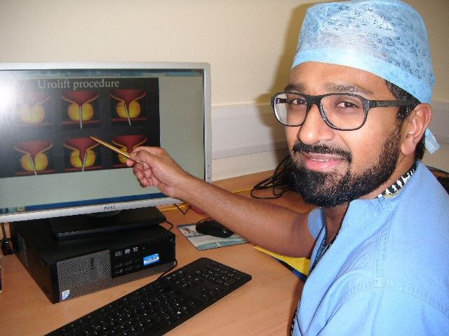 INNOVATIVE: Surgeon Mr Mistry showing the Urolift procedure.