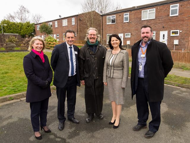 (Left to right) Lynda Lines, Stonewater Portfolio Options Manager; Pat Egan, Places for People Group Executive Director Affordable Housing; Councillor Frederick Weavers, Ward Councillor for Kew Ward; Sue Shirt, Stonewater Executive Director Housing, and Paul McNeilly, Places for People Place Team Manager.