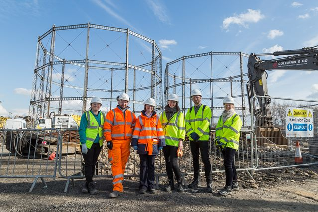 L to R: Sarah Helby (Land Regeneration Advisor - National Grid) Paul Quance (Contracts Director – The Coleman Group), Leigh Ward (Gasholder Demolition Advisor – National Grid) students Lise, Mikkel and Eline at the Wavertree site.