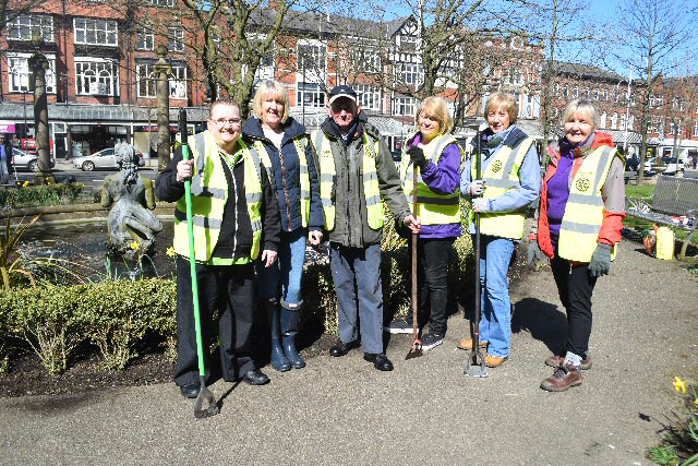 Spring cleaning on 5 April 2018, on Lord Street, Southport's War Memorial Gardens.