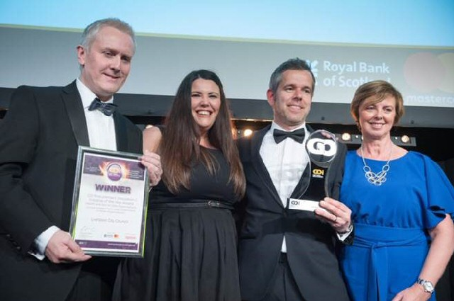 Picking up the award are Liverpool City Council Head of Procurement Trevor Ingham and project team members Kimberley Fisher, Brian Monk and Lorraine Cross.