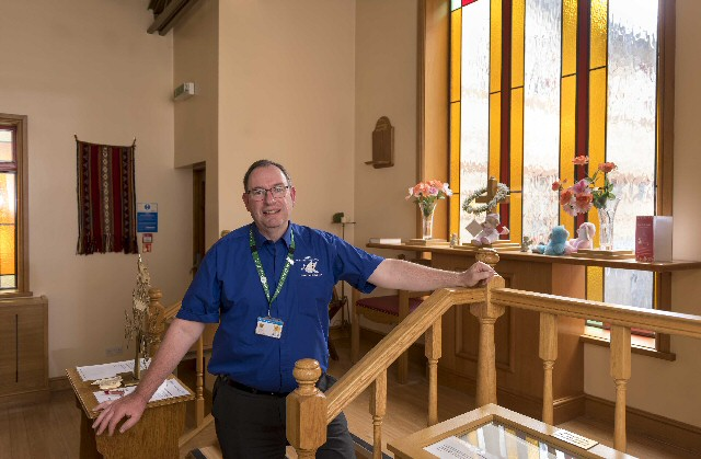 Rev Martin Abram photographed in Ormskirk Hospital�s Church.