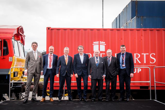 Left to right: Jouke Schaap, Peel Ports Container Director; Roger Neary, DB Cargo UK; Patrick Walters Chief Operating Officer, Peel Ports Group; Metro Mayor Steve Rotherham; Vice Lord-Lieutenant David O'Donnell CBE DL; Lord Prescott; Warren Marshall, Peel Ports Group Planning Director.