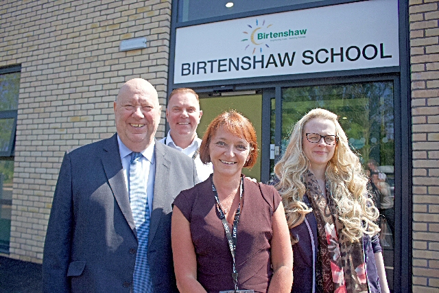 Mayor of Liverpool Joe Anderson outside the new Birtenshaw School with Birtenshaw Chief Executive David Reid, Deputy Chief Executive Julie Barnes and Head of School Stacia Pettersen.