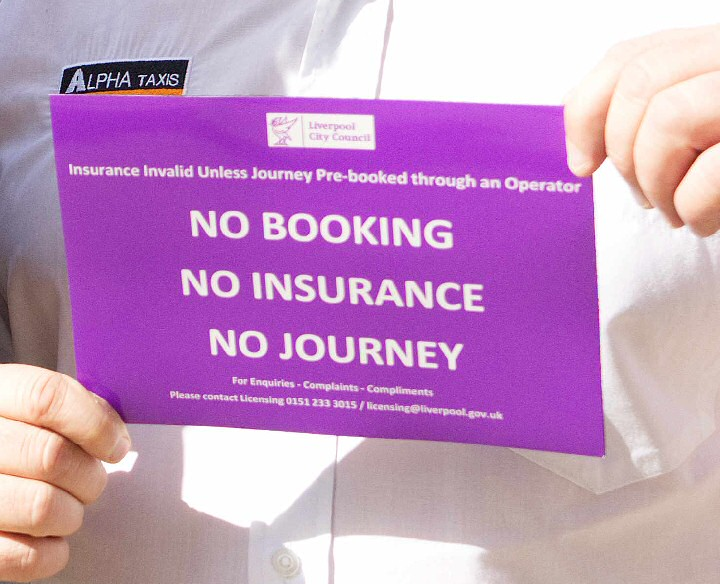 The Liverpool purple magnetic stickers that are currently being sent to every Private Hire driver within the City.