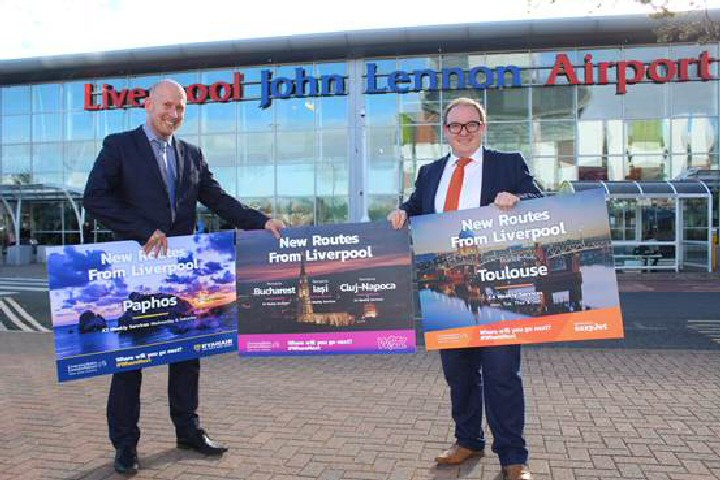LJLA's Air Service Development Director Paul Winfield (Left) and LJLA's Air Service Development Manager Declan Maguire (right) celebrate the 5 new routes.