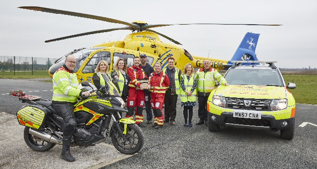 North West Air Ambulance Charity launch blood on board in conjunction with Blood Bikes Manchester, Salford Royal Hospital NHS Foundation Transfusion Service and North West Ambulance Service.