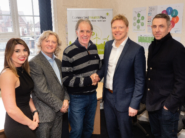 Pictured left to right: Amy McEvoy, Registered Manager, Connected Health Plus; Douglas Adams, CEO, Connected Health Group; Mark Lawrenson, Liverpool FC Legend; Tim Jones, Managing Director, Connected Health Plus and Gareth Farrelly, former Everton FC footballer.