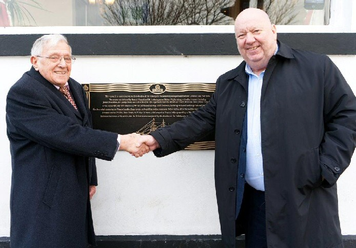 Jack Stamper and Mayor of Liverpool Joe Anderson at the new plaque outside The Coburg pub.