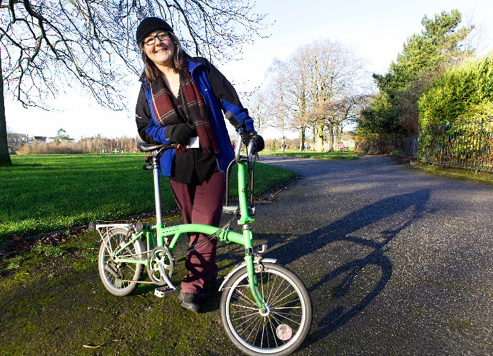 Photo - Liverpool City Council's new Cycling and Walking Officer Jayne Rodgers at Princes Park.