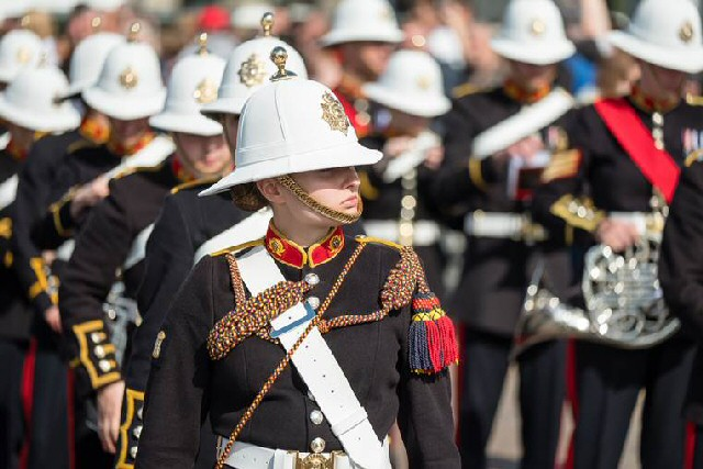 The band of Her Majesty's Royal Marines assemble at the Pier Head on Armed Forces Day 2017.