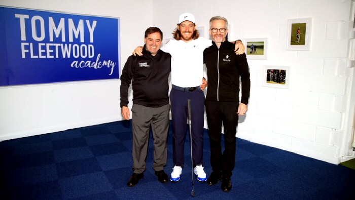 Photo from left to right - Norman Marshall (Head Pro at the TFA), Tommy Fleetwood and Mark Williams (Golf Manager & Head Professional at Formby Hall Golf Resort & Spa). Credit: Getty Images