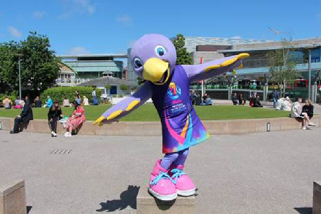 Hey Jude!: Official Vitality Netball World Cup mascot Jude checks out Chavasse Park � Netball World Cup