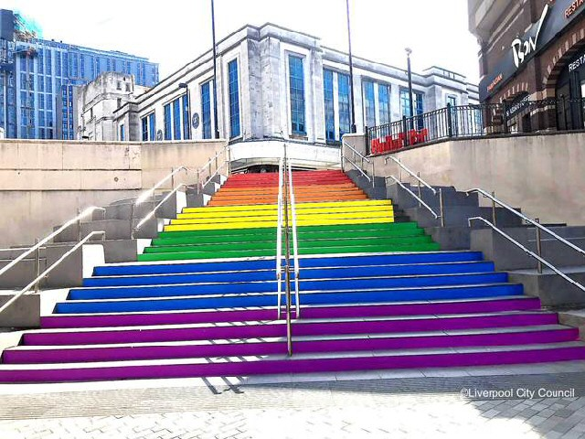Steps ahead: Liverpool City Council's rainbow steps at Clayton Square.